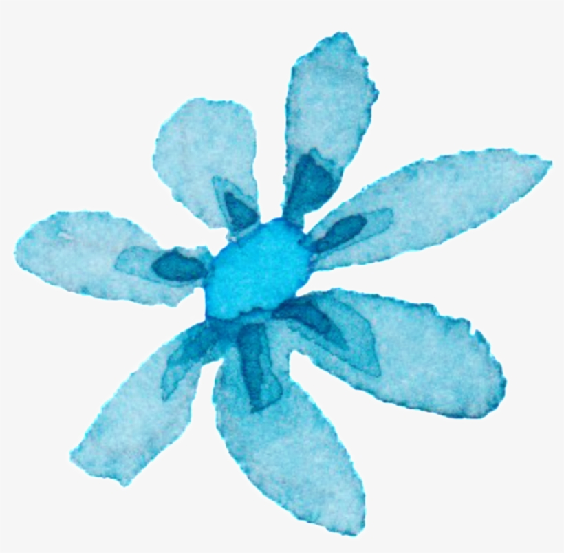 Light Blue Watercolor Hand Painted Flowers Decorative - Watercolor Painting, transparent png #14990