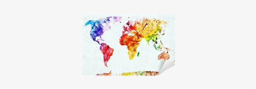Watercolor World Map Wall Mural ✓ Easy Installation - World Map Artistic, transparent png #15596