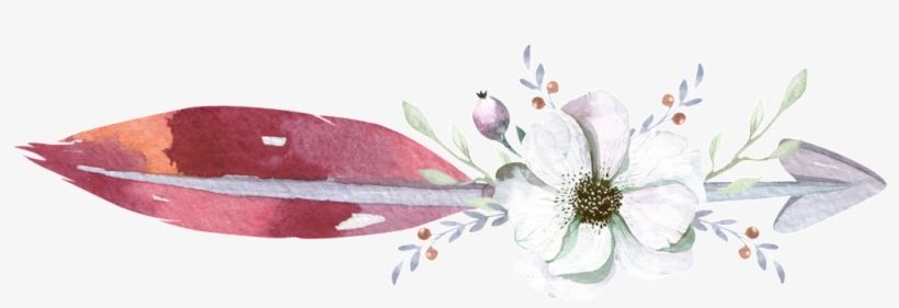 Flower Arrow Feather Watercolor Hand Painted Transparent - Watercolor Arrow Png, transparent png #15801