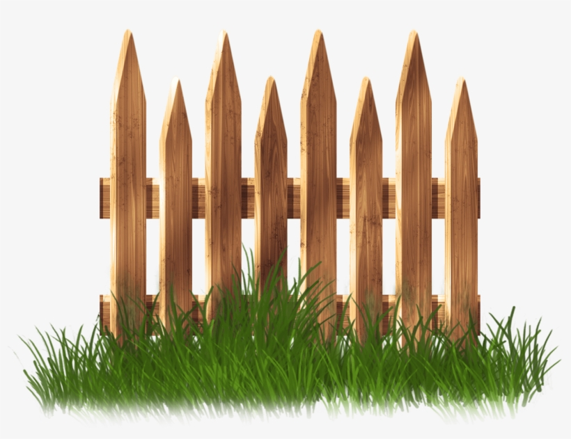 Wooden Garden Fence With Grass Png Clipart - Garden Fence Clipart Png, transparent png #15942