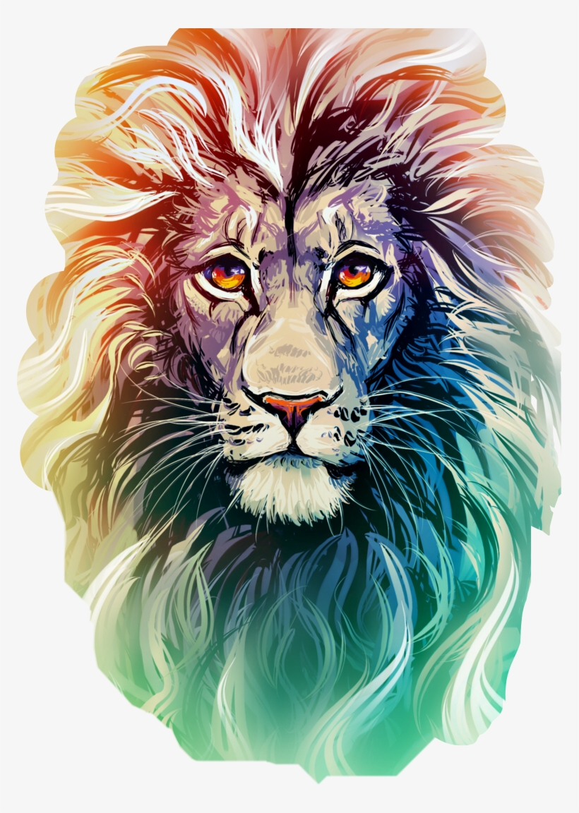 Report Abuse - Colored Lion Drawings, transparent png #15980
