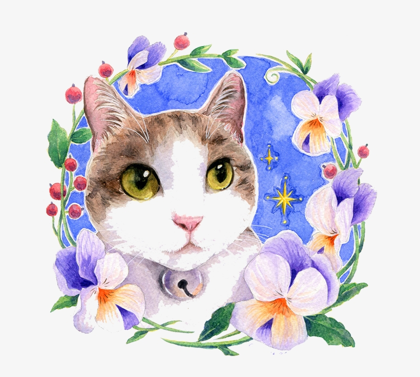 Clipart Free Library Watercolor Flowers Cat Watercolour - Cat With Flowers Painting, transparent png #16183
