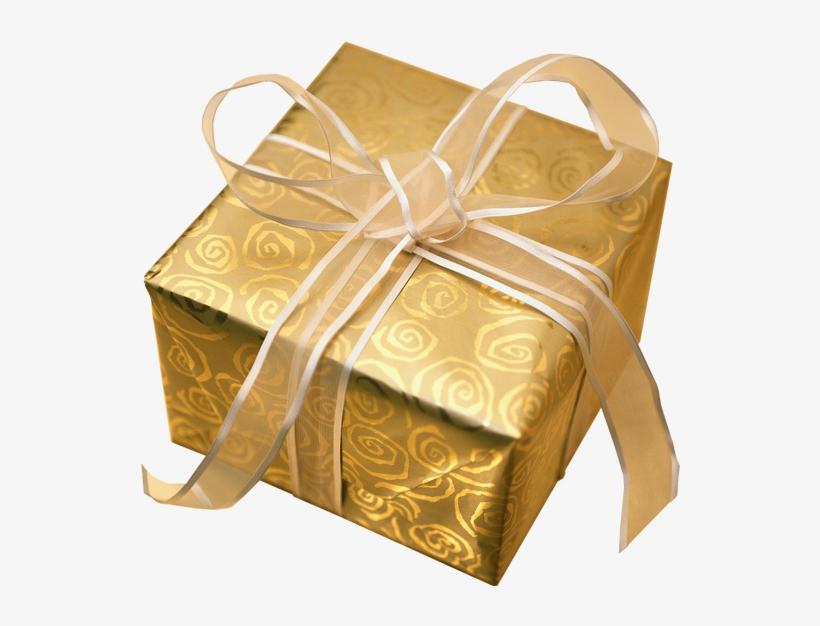 Christmas Presents Transparent Background - Gold Wrapped Christmas Presents, transparent png #16291
