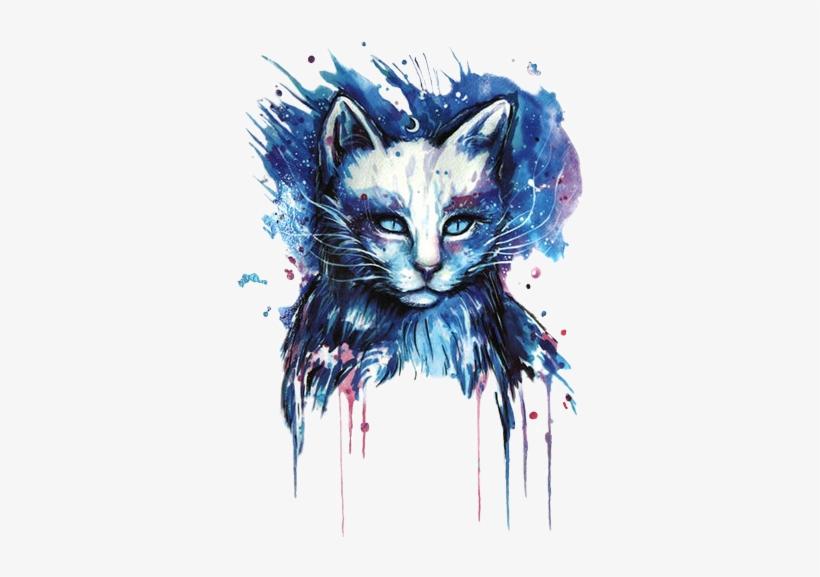 Blue Cat Cats Blackcat Galaxy Watercolor Watercolour - Branco Tatuagens De Gato, transparent png #16412