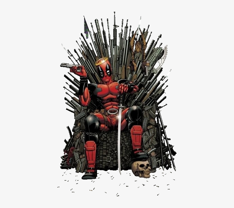 Deadpool Got - Deadpool On Iron Throne, transparent png #16542