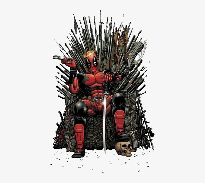Deadpool Got - Deadpool On Iron Throne, transparent png #16542