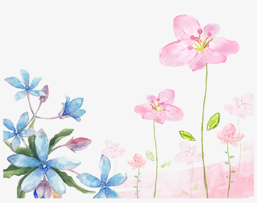 This Graphics Is Hand Painted Watercolor Flowers Decorative - Watercolor Flowers Background Png, transparent png #16641