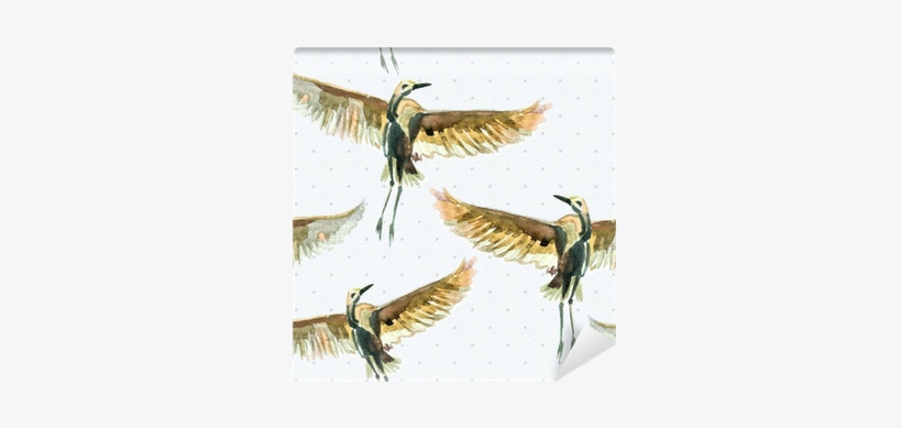 Seamless Texture With Watercolor Birds Wall Mural • - Watercolor Painting, transparent png #17006