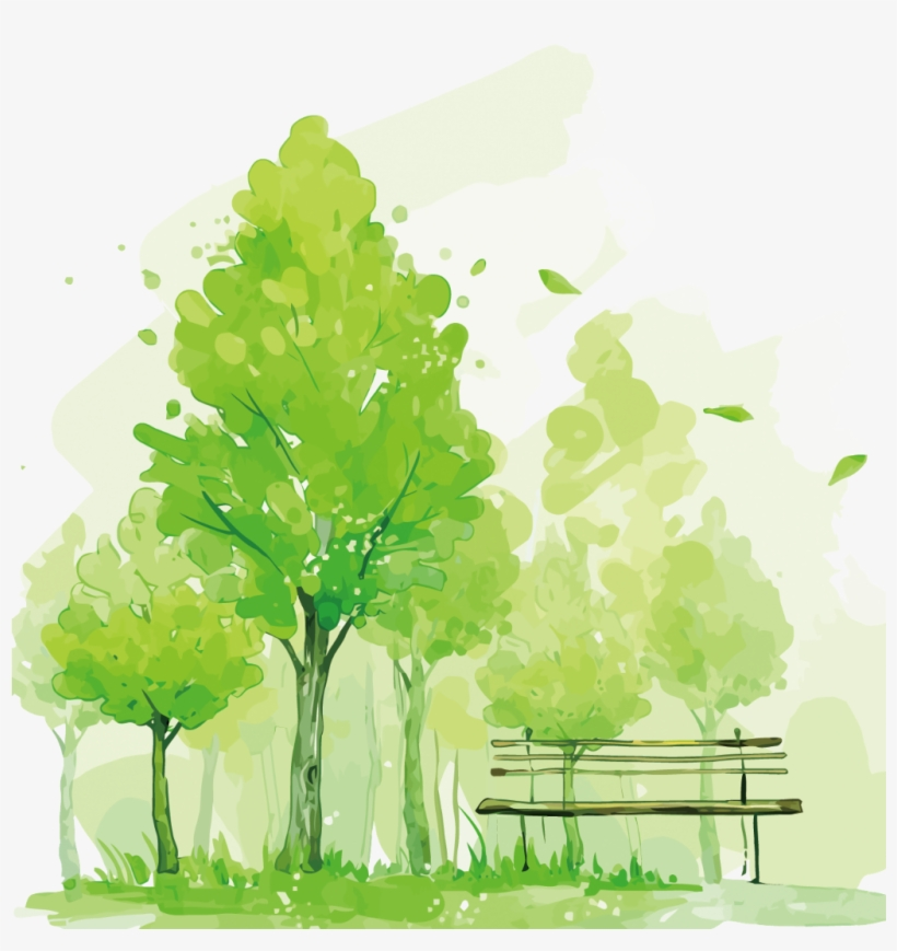 Ftestickers Watercolor Trees Park Bench - Tree Watercolor Vector Png, transparent png #17634