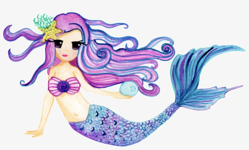 This Graphics Is Hand Drawn Cartoon Mermaid Png Transparent - Cute Personalized Mermaid Note Cards, transparent png #17671