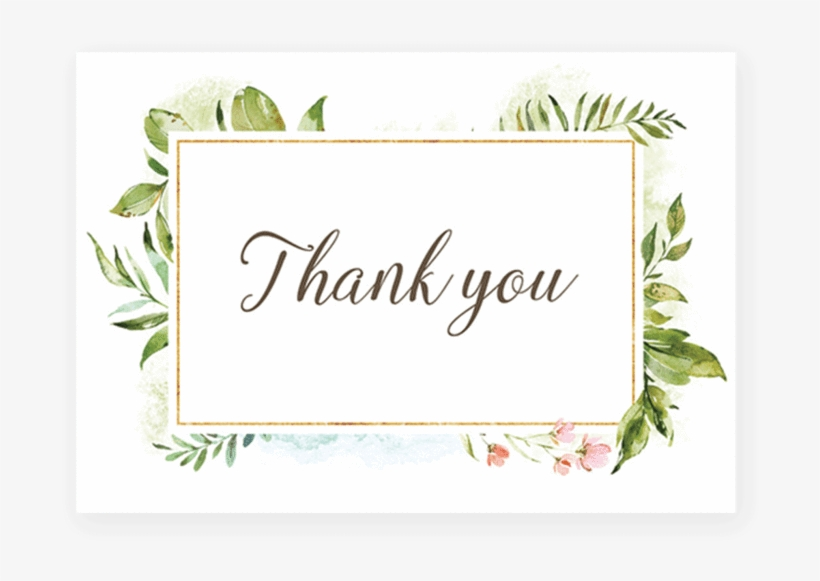 Green Leaf Thank You Card Printable By Littlesizzle - Thank You With Leaves, transparent png #17721