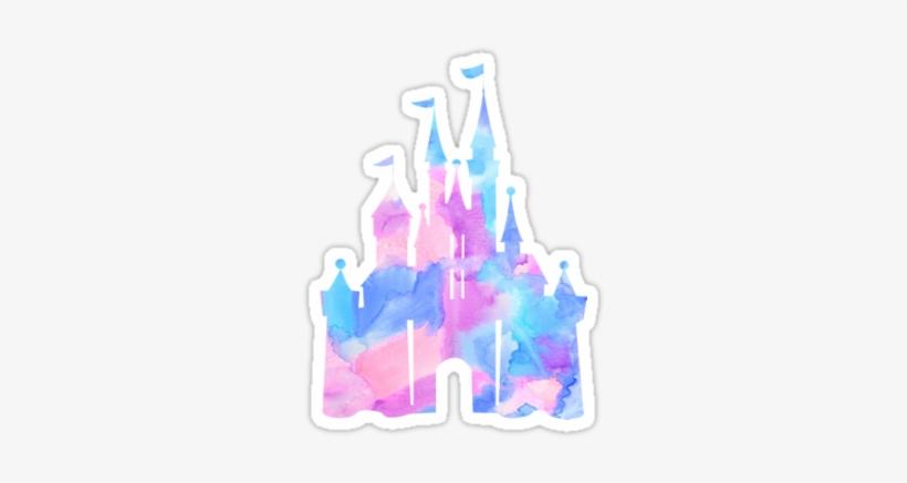 Watercolor Disney Castle Sticker - Disney Castle Stickers, transparent png #17973