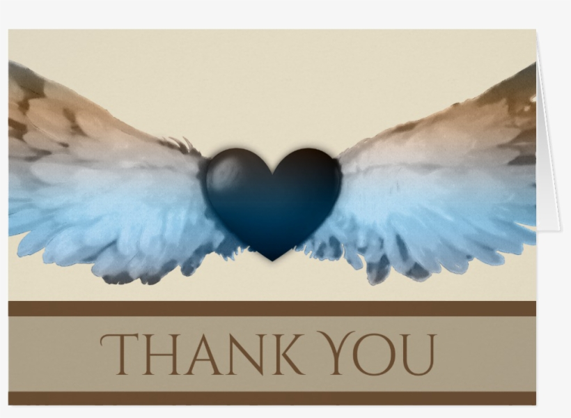 Watercolor Angel Wings & Heart Thank You Note Card - Heart Thank You Note Card, transparent png #18009