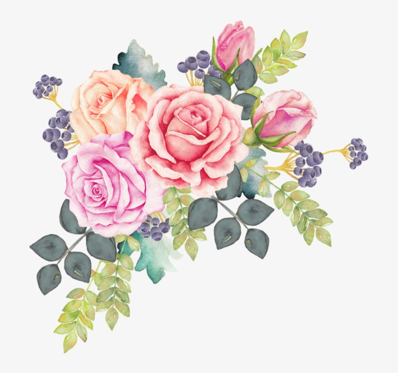 Watercolour Flowers Watercolor Painting Rose Clip Art - Watercolor Floral Wreath Png, transparent png #18964