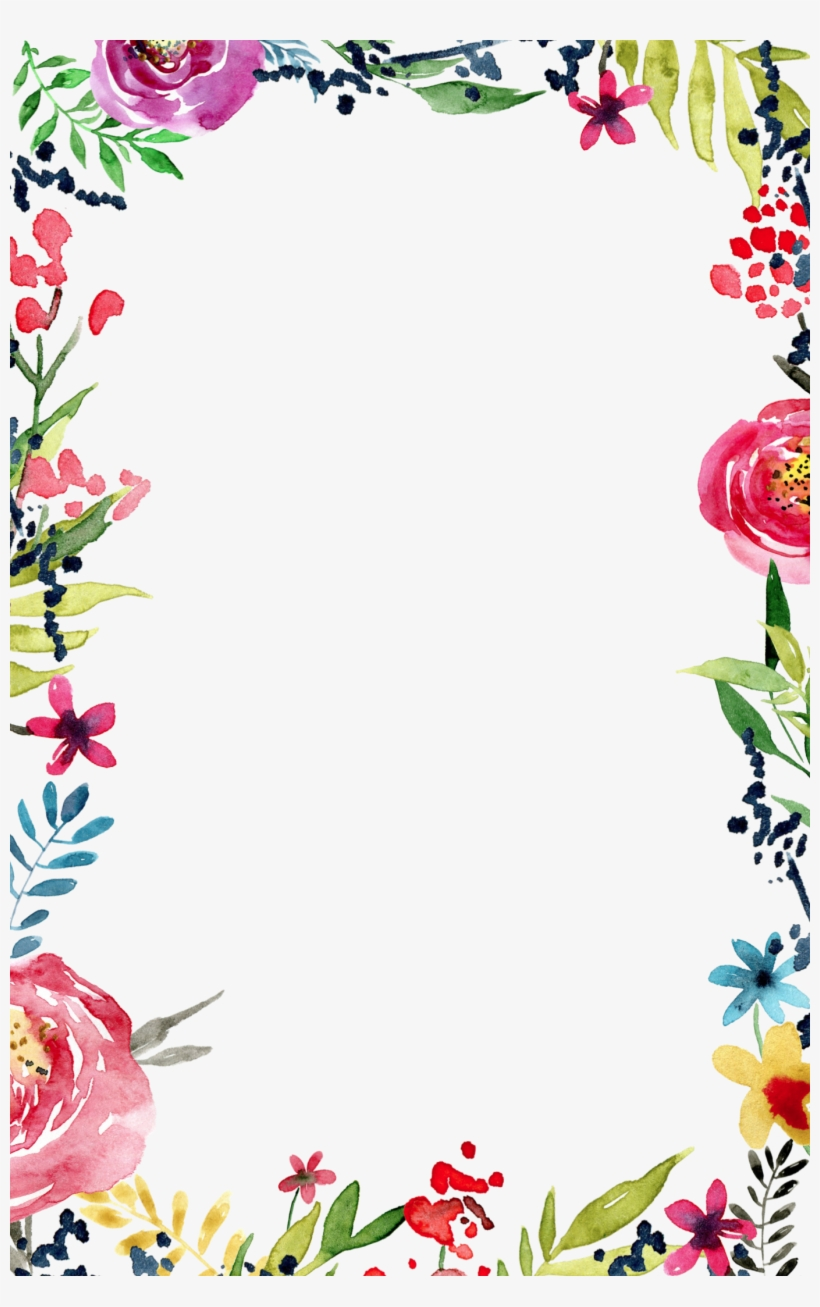 Border Design, Floral Watercolor Background, Watercolor - Border Line Design Flower, transparent png #19285