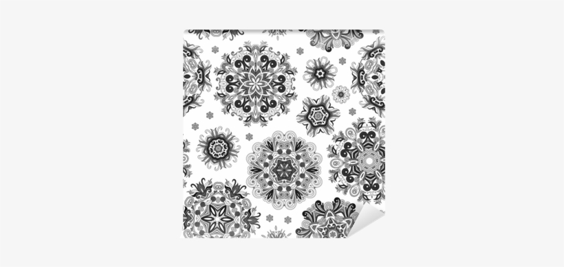 Floral Seamless Pattern With Stylized Snowflakes - Snowflake, transparent png #100580