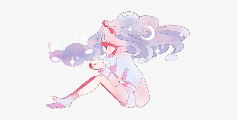 Art Anime Kawaii Coffee Dream Space Galaxy Stars Pink - Pastel Anime Girl Render, transparent png #100765