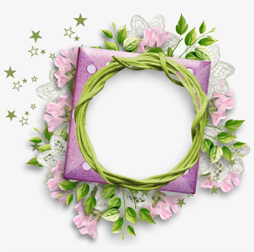 Purple Flower Clipart Round Flower Frame Round Flower - Flower Round Frame Png, transparent png #101353