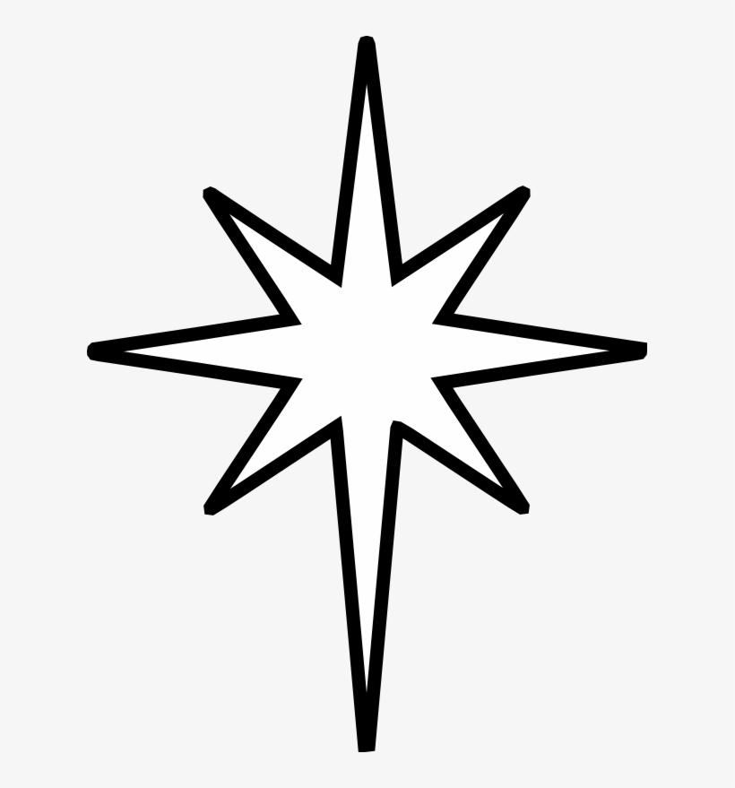 Christmas Star Clip Art Black And White - Star Of Bethelehem Clip Art, transparent png #102122
