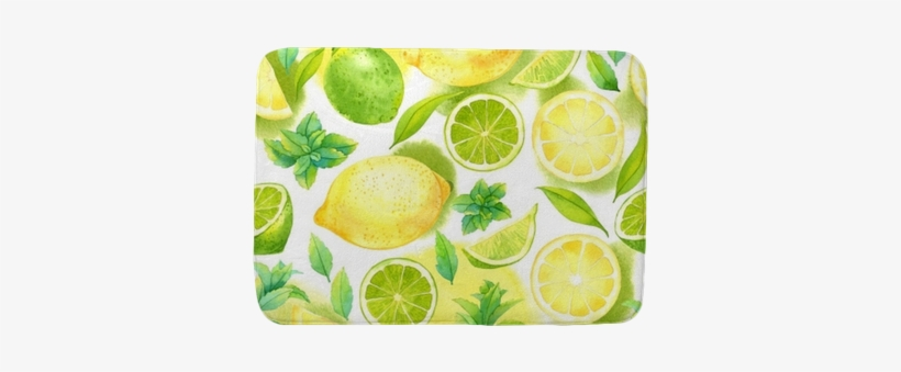 Seamless Pattern With Watercolor Lime, Lemon And Mint - Citrus Pattern By Achtung - Customized Wallpaper Patterns, transparent png #104476