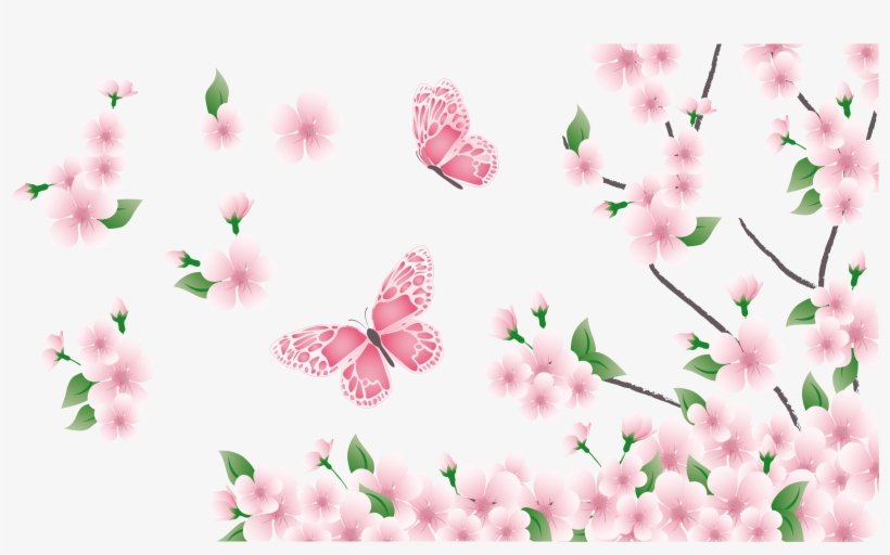 Spring Branch With Pink Flowers And Butterflies Png - Pink Flowers And Butterflies, transparent png #104643