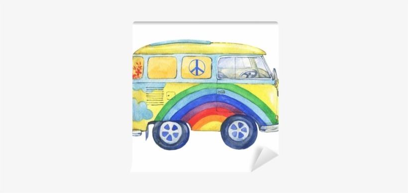 Old-fashioned Yellow Hippie Сamper Bus, Painted In - Watercolor Painting, transparent png #105277