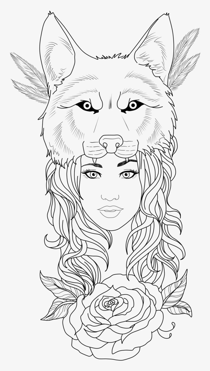 Wolf Tattoos Clipart Girl - Wolf Girl Tattoo Designs, transparent png #105967