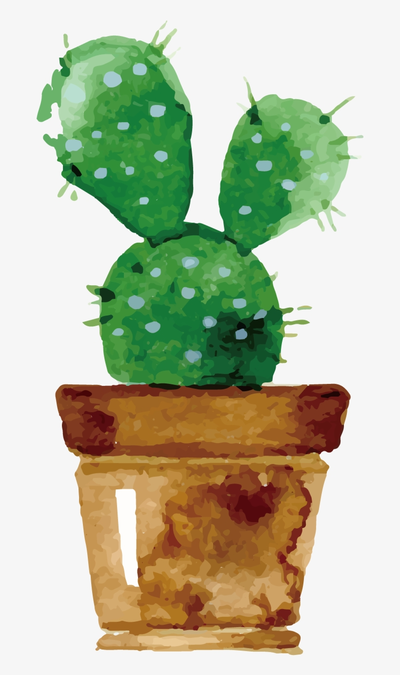 Cactaceae Watercolor Painting Drawing Succulent Plant - Cute Cactus Drawing Watercolor, transparent png #106891