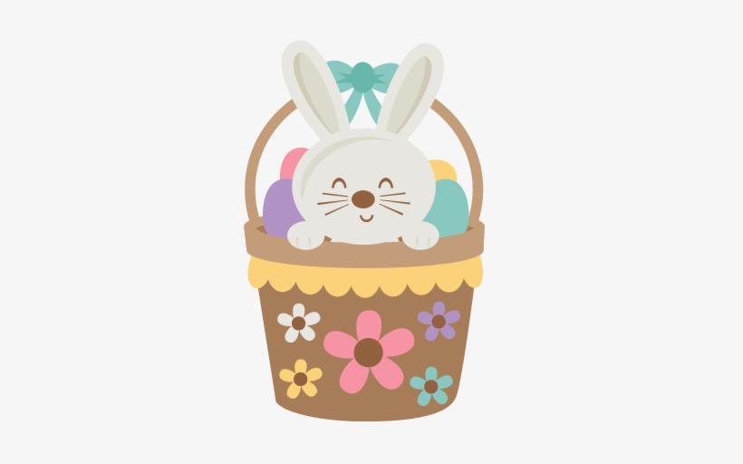 Picture Free In Basket Svg Scrapbook Cut File Cute - Cute Easter Bunny Clipart, transparent png #106943