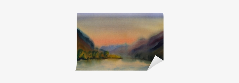 Watercolor Painting Landscape Of Sunset Wall Mural - Painting, transparent png #107093