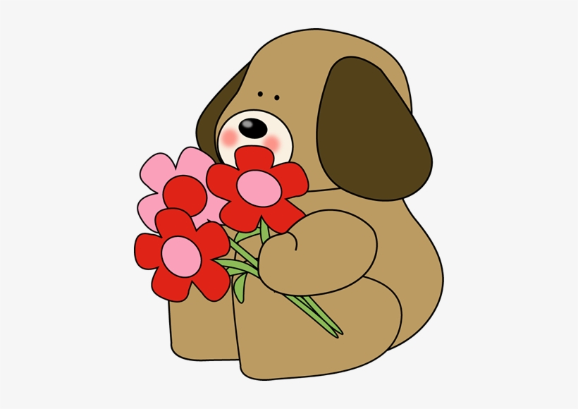 Dog Clipart Flower Valentine S Day Flowers Clip Art Free