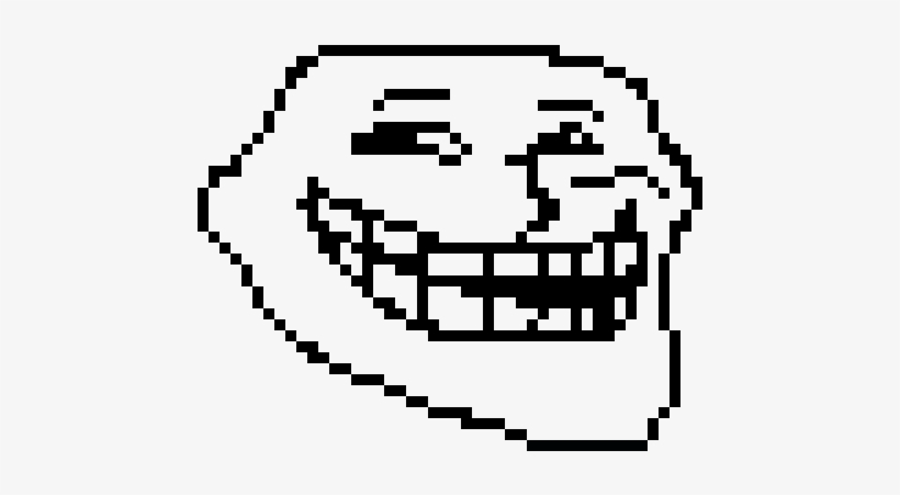 Troll Face - Pixel Art Faccia Troll Minecraft, transparent png #108173