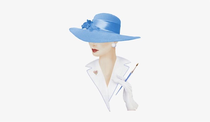 Alfabeto Animado Dama Elegante Con Sombrero Celeste - Modeles De Chapeaux  Pour Peinture Sur Porcelaine 3ee2c9c9717