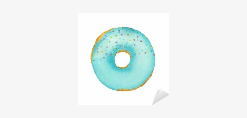 Watercolor Donut With Blue Frosting Isolated On White - Circle, transparent png #108620