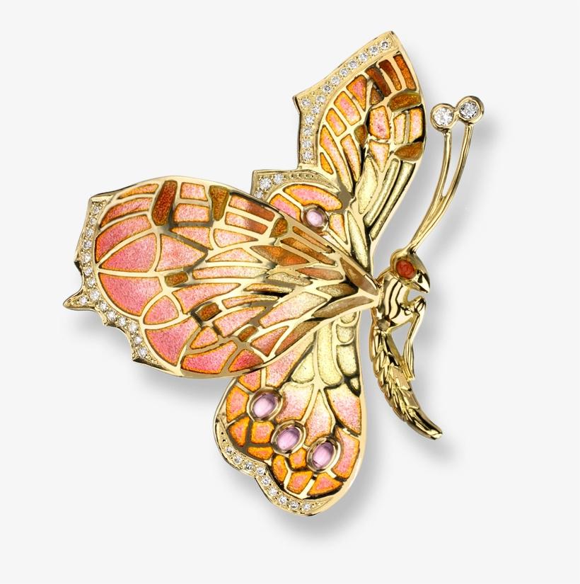 Nicole Barr Designs 18 Karat Gold Butterfly Brooch-pink - Pink And Gold Butterflies, transparent png #1005787