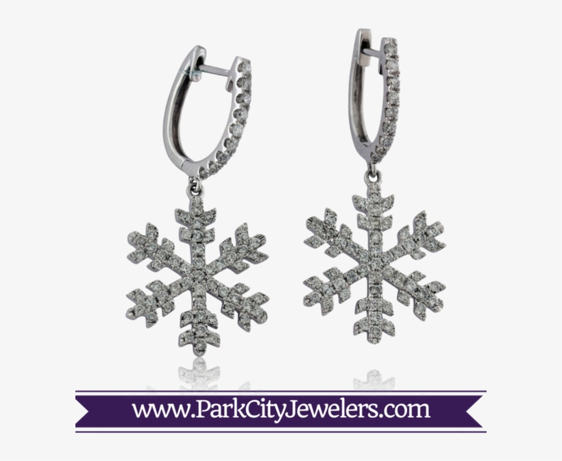 Pave Diamond Snowflake Dangle Earrings, transparent png #1008979