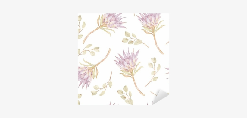 Watercolor Branches Protea And Eucalyptes Leaves Pattern - Watercolor Painting, transparent png #1009401