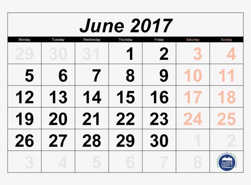 Calendar June Printable Calendar Png 2017 Transparent - April 2018 Calendar Transparent, transparent png #10057384