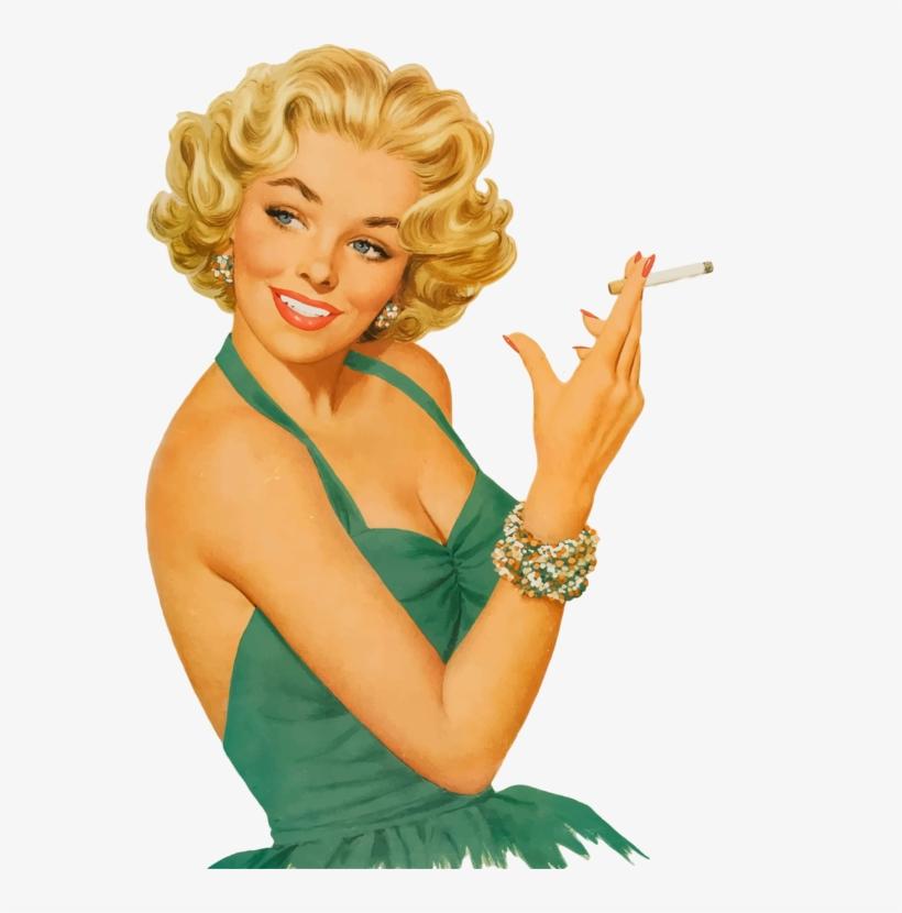 T-shirt Vintage Clothing Brossard Ladies Night Tickets - Pin Up Girl Smoking, transparent png #10061201