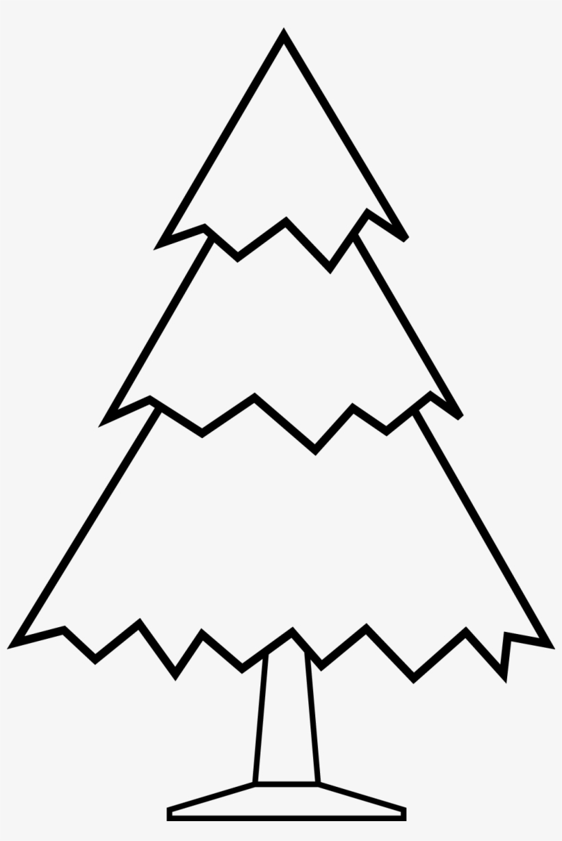 Simple Christmas Tree Free Digital Stamp Black And White Clipart