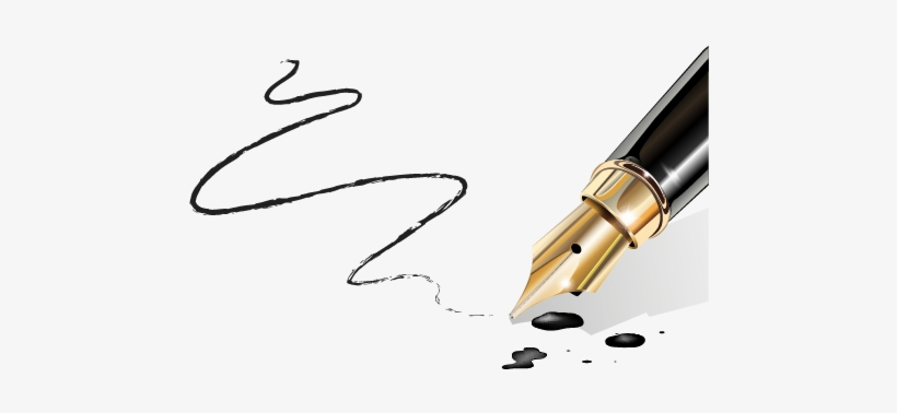 Vector Pens Calligraphy Pen - Fountain Pen Running Out Of Ink, transparent png #10067859