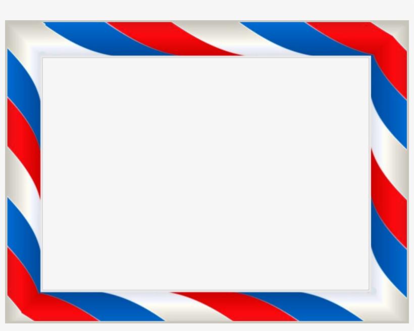 Red White Blue Barbershop Pole Frame Border Scrapbook - Barber Pole Border Png, transparent png #10069072