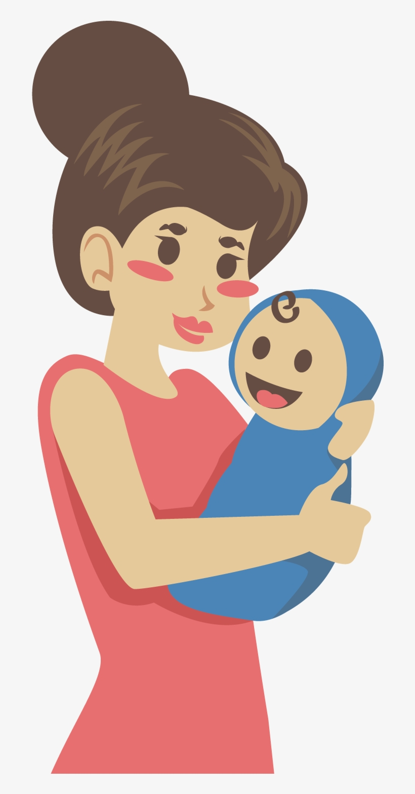 Mother Clip Art - Mom And Baby Cartoon Png, transparent png #10071532