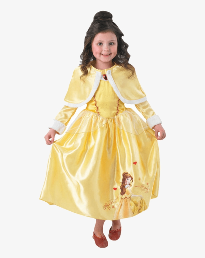 Child Disney Belle Costume With Cape - Belle Fancy Dress Kids, transparent png #10073454