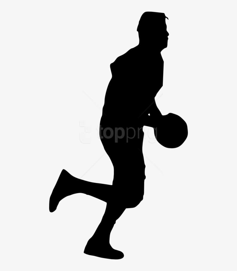 Basketball Player Silhouette Png - Silhouette Man Basketball Png, transparent png #10078347