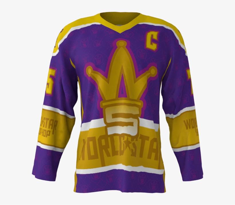 World Star Hip Hop Custom Roller Hockey Jersey - Long-sleeved T-shirt, transparent png #10079912