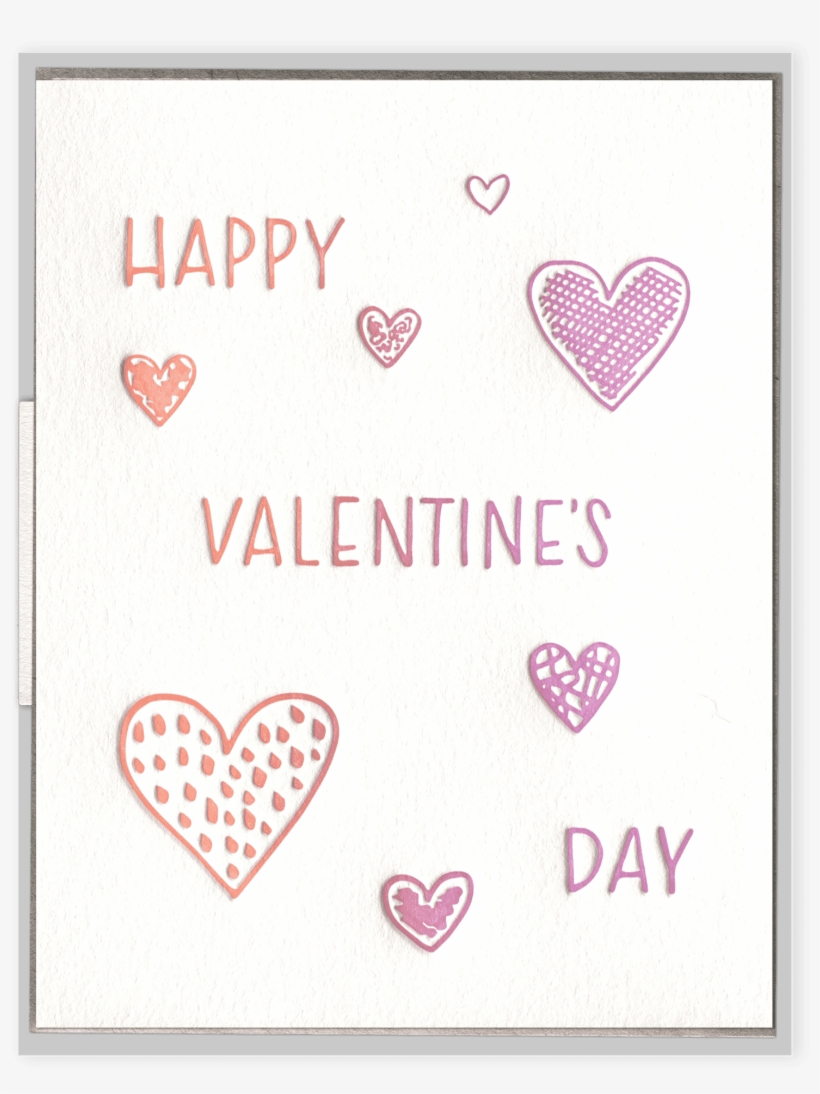 Valentine's Day Hearts Letterpress Greeting Card - Heart, transparent png #10081082