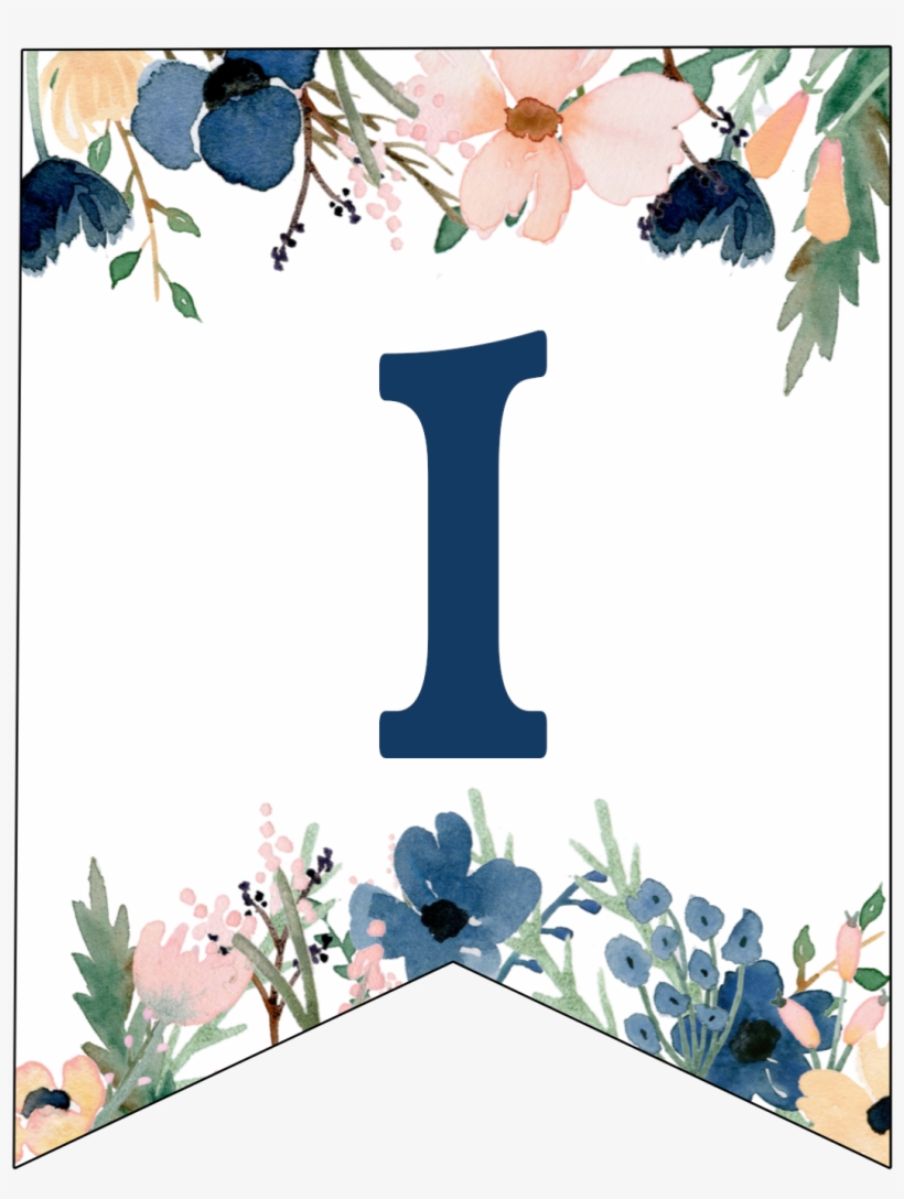Blue & Pink Flower Banner Letter A, transparent png #10087839