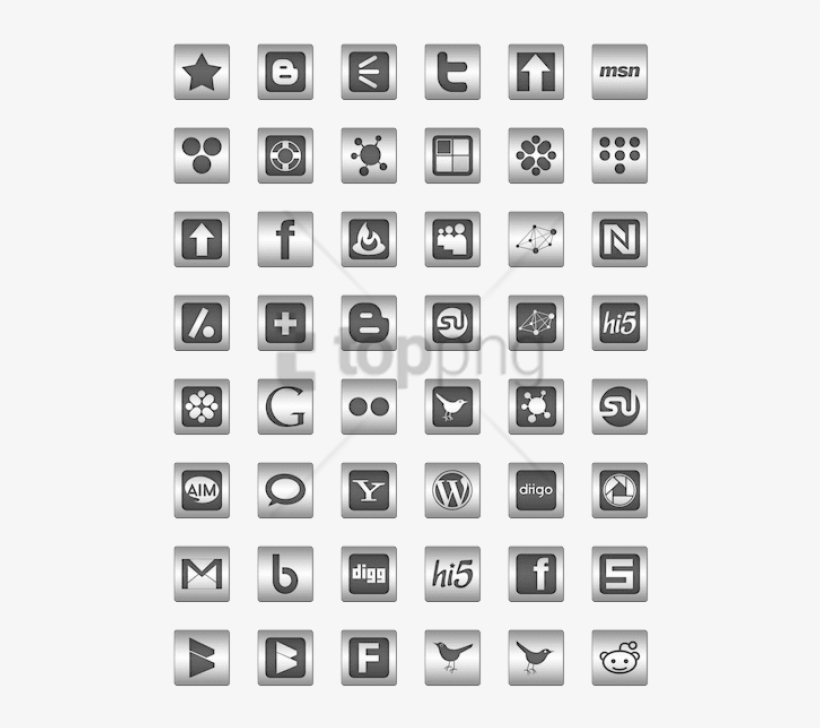 Free Png Black Inlay On Steel Social Media Icon Pack - Monochrome, transparent png #10090655