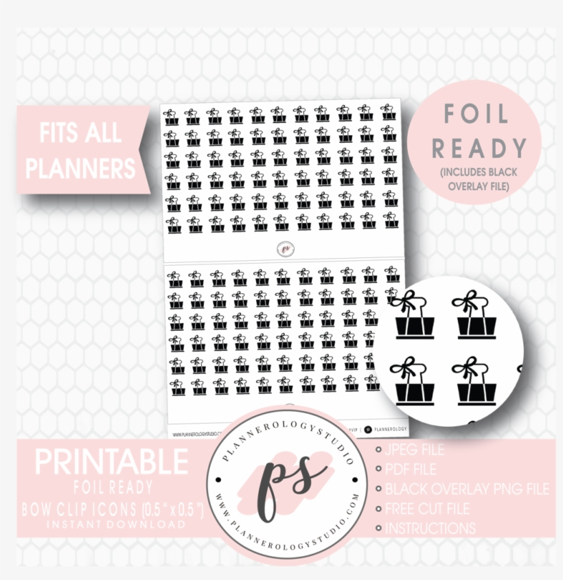 photo regarding Happy Planner Stickers Printable known as Bow Clip Icon Electronic Printable Planner Stickers